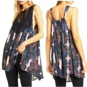 New Free People Count Me In Trapeze Top Black Comb
